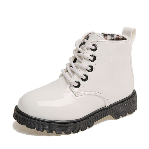 2016 Winter girls boot patent leather shoes waterproof kid boots solid color kid martin boots zipper