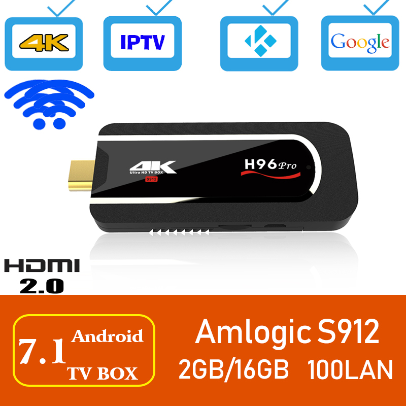 Xinways H96 Pro Android 7.1 TV Box Amlogic S912 Octa-core 2G 16G Mini PC TV Stick 2.4G/5G Wifi BT4.1 4K Media Player Smart TV