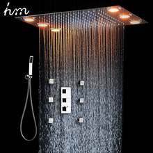 Bathu0026Shower Faucet Three Functions Remote Control LED Light Rainfall Shower  Head Ceiling Shower Massage Jets And Handheld Shower