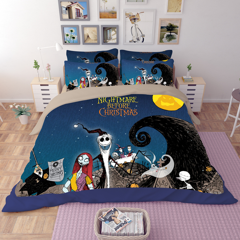 aliexpresscom buy nightmare before christmas bedding set bedclothes unique design duvet cover bed sheet fitted sheet pillowcase twin queen king from - Nightmare Before Christmas Bedding Queen