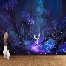 Custom wallpaper dream starry hand-painted abstract elk background wall large mural high-grade waterproof material