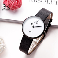 Shengke Women Watches 2018 Fashion Creative Ladies Watch Simple Sport Leather Strap Black Wrist Watches For