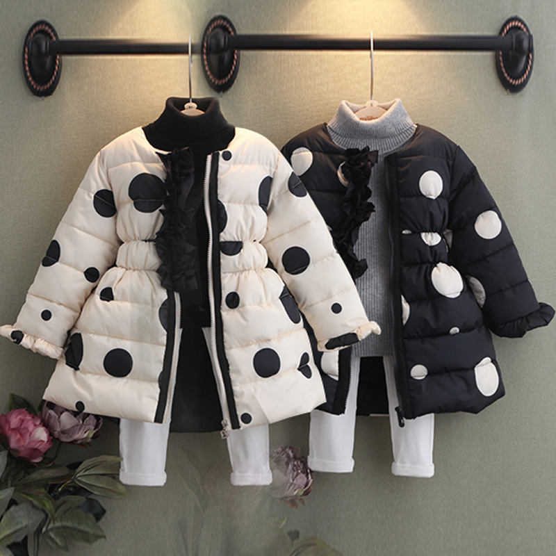 Girls Coat 2018 Winter Warm ChildrenS Clothing Fashion Child Thickening Long Outerwear Kids Baby Girl Polka Dot Wadded JacketGirls Coat 2018 Winter Warm ChildrenS Clothing Fashion Child Thickening Long Outerwear Kids Baby Girl Polka Dot Wadded Jacket