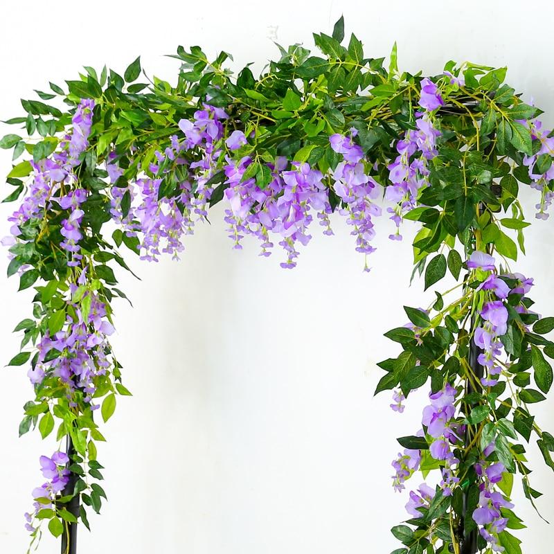 7ft 2 M Blume String Künstliche Wisteria Vine Garland Pflanzen Laub Outdoor Home Hinter Blume Gefälschte Blume Hängen Wand Dekor Künstliche Dekorationen