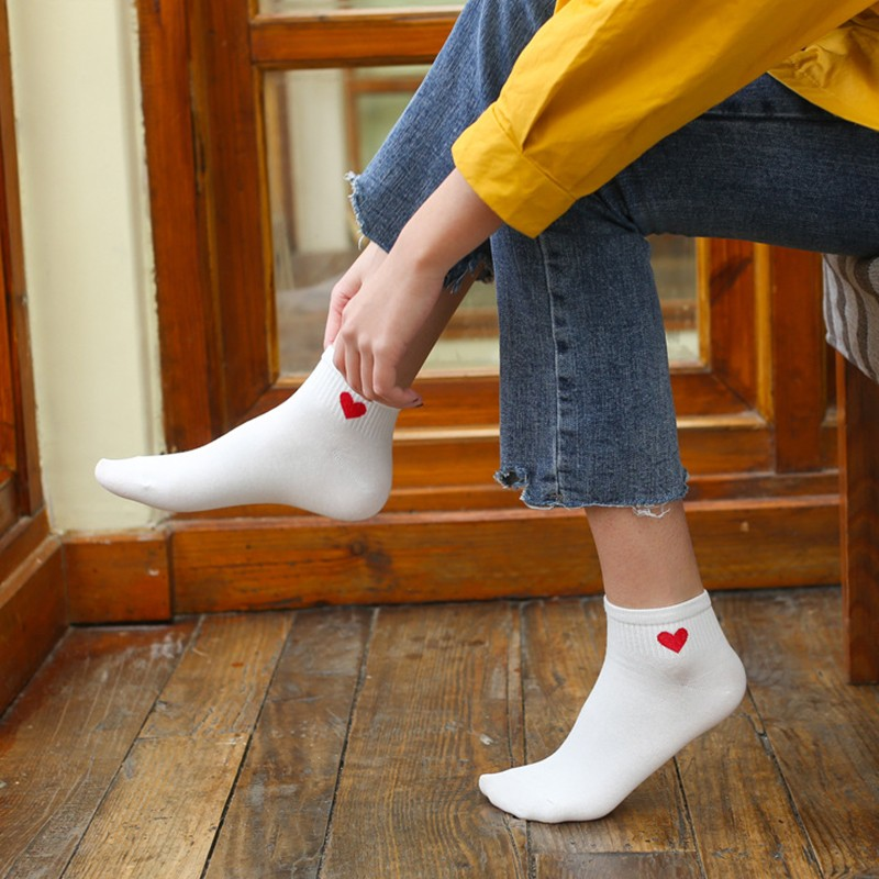 Deruilady Spring Summer Girl   Socks   Cotton Harajuku Japanese Style Heart Pattern   Socks   Women Solid Kawaii Casual Girl Women   Socks