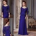Azul Royal Evening Vestidos Mãe Do Noivo Elegante Do Laço Em Torno Do Pescoço Mangas Vestidos Mãe Da Noiva Vestido Mae da Noiva Do Vintage