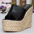 New summer fashion trifle straw women sandals flip flop casual wedge shoes woman grils high heels shoes with platforms