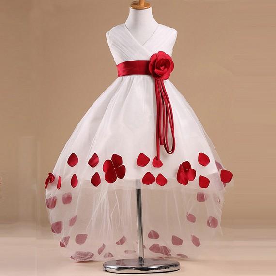 New-Arrival-V-Neck-Red-Flower-Sash-High-Low-Flower-Girl-Dresses-Children-Girl-Dress-Girl