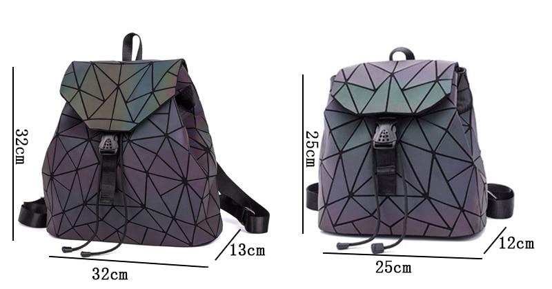 HTB1KUXmXfWG3KVjSZPcq6zkbXXaN Fashion Women Luminous Backpacks Female Shoulder Bag Girl Daily Backpack Geometry School Folding Bag Travel School Bags Hologram
