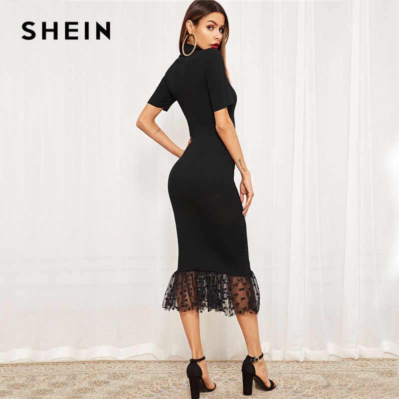 SHEIN Облегающее Платье С Прозрачной Сетчатой Отделкой, Женские Черные Элегантные Платья Со Стоячим Воротником