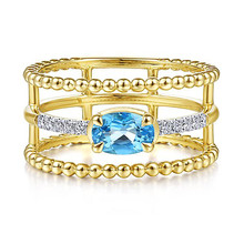 Huitan Stylish Three Line Band Ring with Blue Cubic Zirconia Prong Setting Cocktail Party Best Anniversary Gift Rings for Women