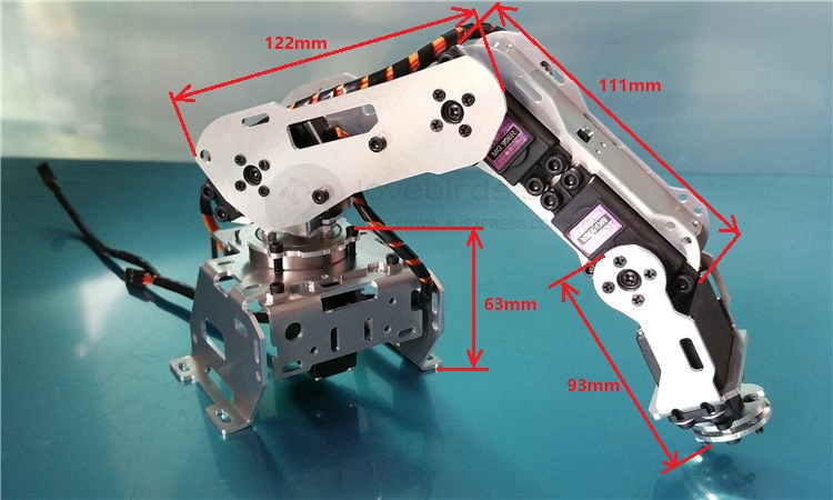 The new robot model 5DOF robotic arm frame All-aluminum robotic arm 5 servos Rotating base 4 dof cnc aluminum robotic arm frame palletizing robot model 4 asix robot arm 4 servos