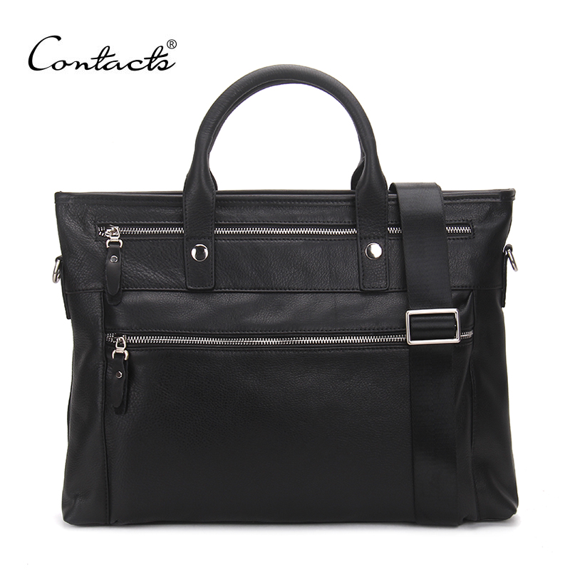 ФОТО CONTACT'S Milled Leather Bag Fashion Men Handbags Cowhide Genuine Leather Crossbody Bag Men's Travel Bags Laptop Briefcase Bag