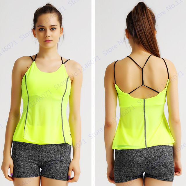 e93165aa1694b Candy Yollow Sports Tank Tops Backless Women Aerobics Camisole Strapless Fluorescent  Yellow Running Vest Sexy Femininos Singlet