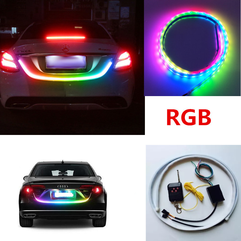 120cm 150cm Wireless Remote RGB Floating Led Dynamic Streamer Trunk Light RED Yellow Car Brake Turn signal Tail Tailgate Lights blue red white yellow led strip tail streamer brake turn signal warning lighting car styling dynamic streamer drl tail lights