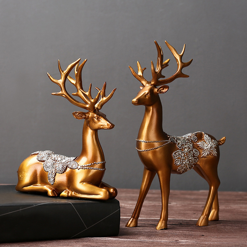 Nouveau Couple de résine rennes décoration de mariage Figurines Miniatures ornement Vintage décoration de la maison accessoires saint valentin cadeaux