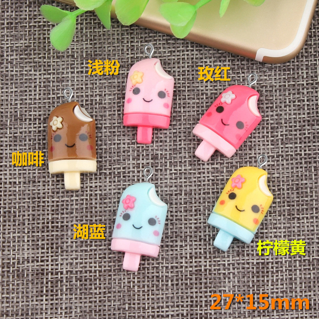10pcs 15*27mm DIY Resin ice cream ice-lolly popsicle charms flatback kawaii cabochon craft jewelry making ornament decoration