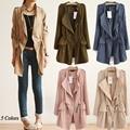 Trinchera abrigo de primavera otoño 2016 corea moda cintura elástico ropa Slim damas abrigo Casual abrigos largos cortaviento mujer