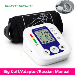 Automatic Digital  Blood Pressure Monitor BP Sphygmomanometer Pressure  Heart Beat Rate Pulse Meter Measure Tonometer blue