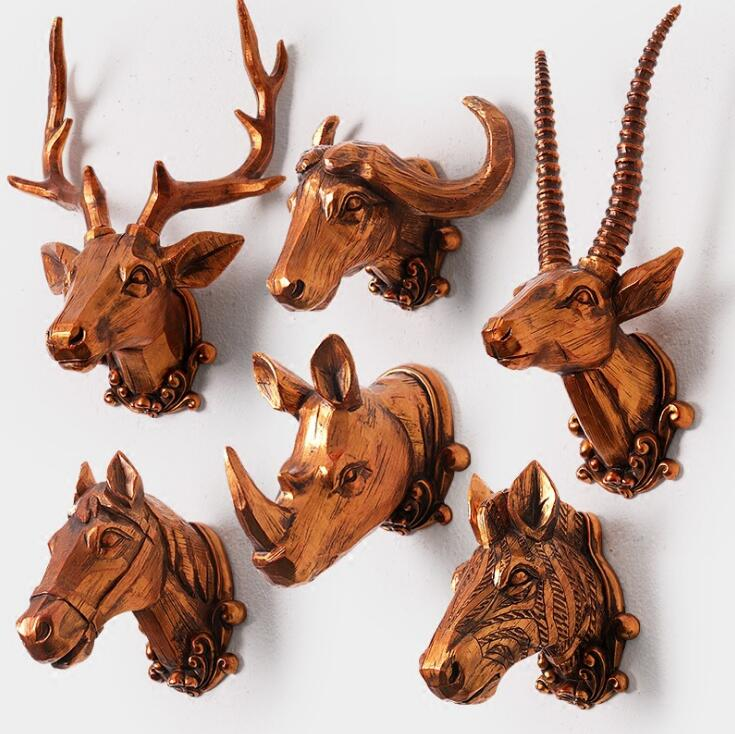 Home decoration accessories furnishing retro deer head for Animal head wall decoration