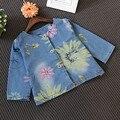 Primavera Outono Crianças Jaqueta de Flores Em Torno Do Pescoço Jaqueta Jeans Single-Breasted Crianças Outwear Para Menina Casacos 2-6Y Nova venda