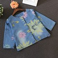 Spring Autumn Kids Jacket Flowers Round Neck Single-Breasted Denim Jacket Children Outwear For Baby Girl Coats 2-6Y New Sale