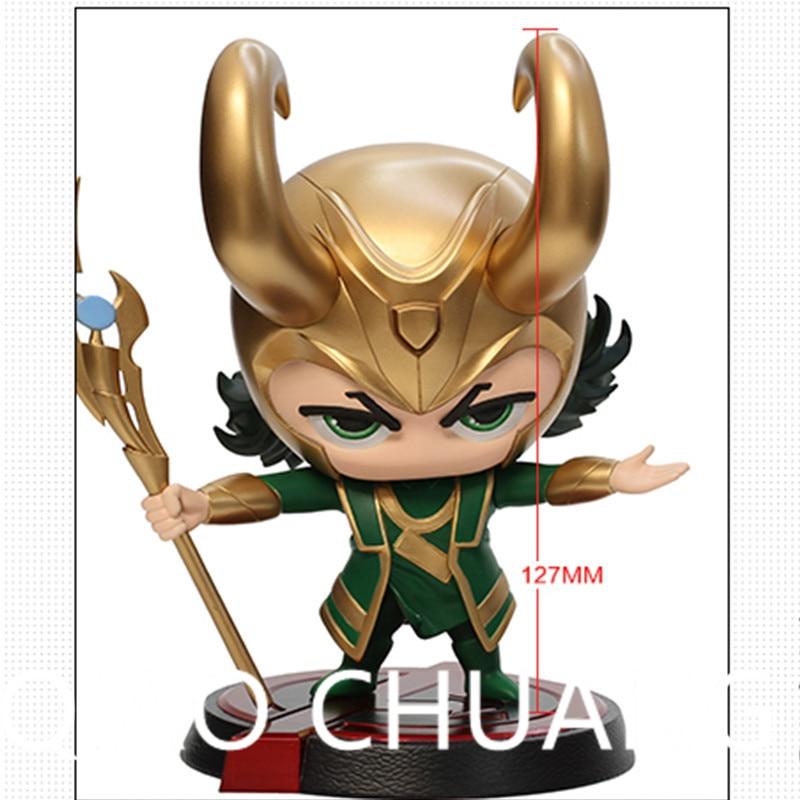 цена на Avengers:Infinity War Supervillain Dark Magic Loki Laufeyson Q-version Bobblehead PVC Action Figure Model Toy G1181
