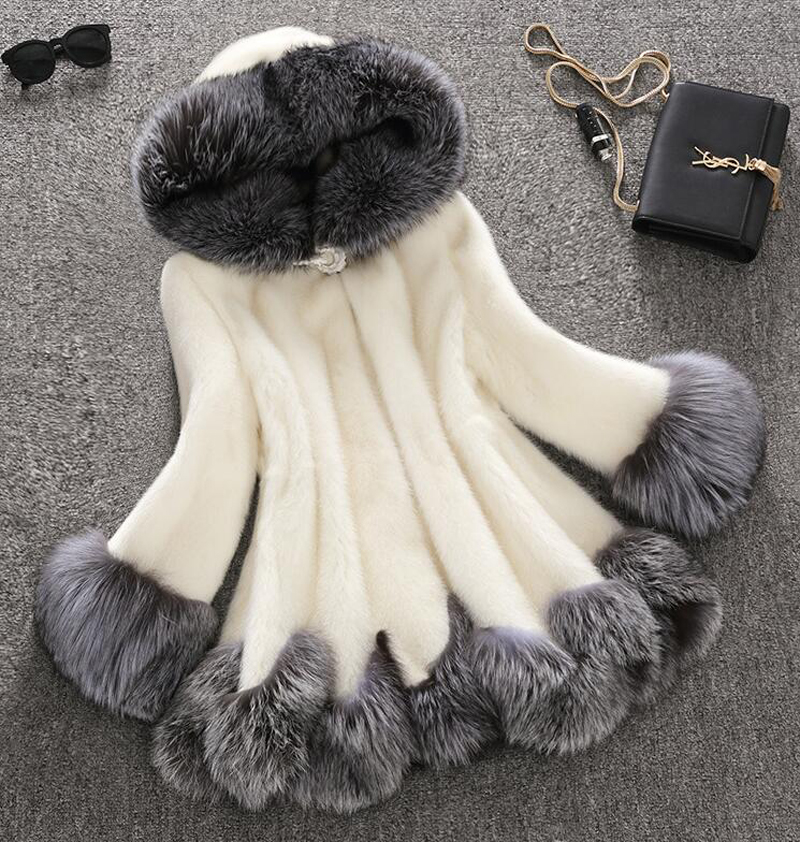 New Style Fashion Winter Women Faux Fox Mink Fur Coat Woman Luxury Medium Long Fake Fur Coats Mujer Female