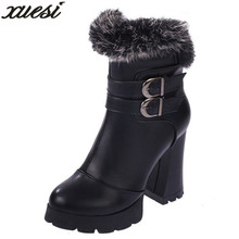 Winter New Warm Real Wool Cotton Shoes Fashion Round Boots Thick Bottom Waterproof Table Wedge Ankle
