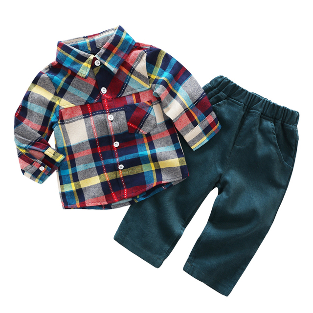 54b0847b824 Baby Infant Boys Clothes Casual Kids Suit Set Spring Plaid Shirt + Corduroy  Trousers Children Clothes Newborn Outfits Clothing