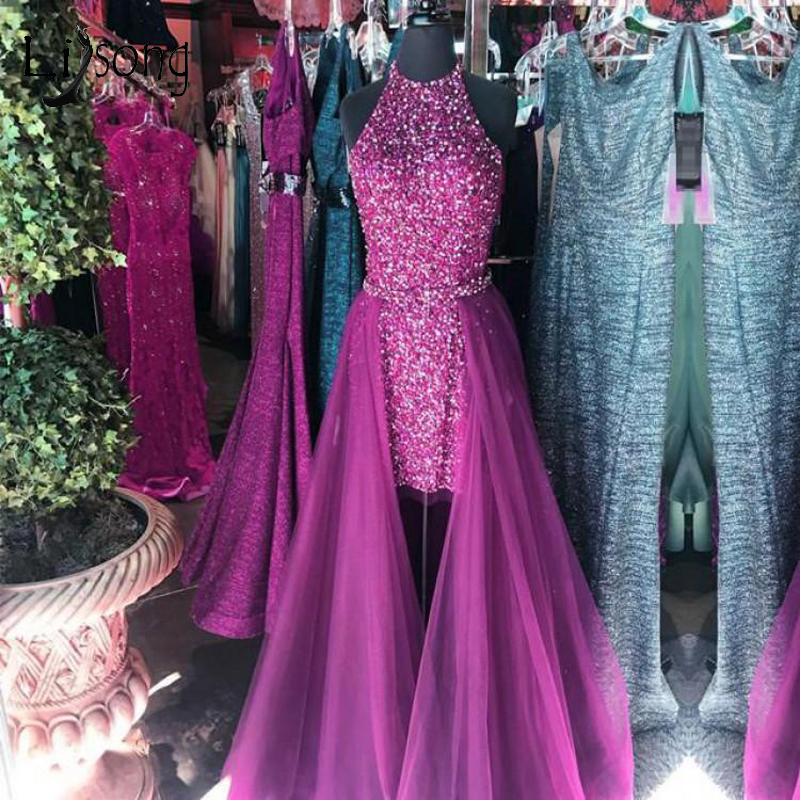 Sparkle Beaded Dubai High Low Prom Dresses With Ovderskirt Crystal Seuqined Long Prom Gowns Halter Abiye Vestido De Festa Longo