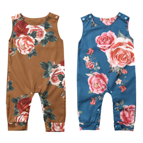 US Summer Newborn Infant Baby Girl Flowers Clothes Sleeveless Romper Outfit SE