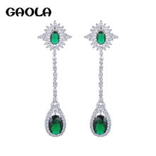 GAOLA Fashion Popular Style Dangle Earrings Charm Brand Hot Sale Promotion Gold Color AAA CZ Long Drop Earrings For Women Gifts
