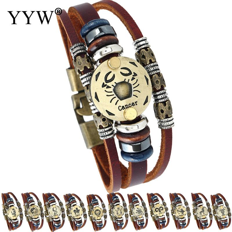 High Quality Virgo/Sagittarius/Aquarius/Scorpio 12 Constellation Bracelet Men Women Punk Leather Bracelets & Bangles Man jewelry