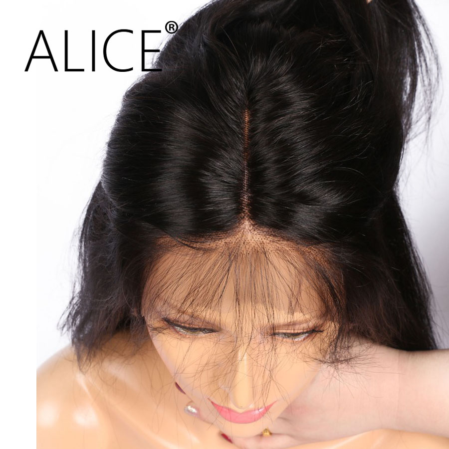 ALICE 150 Density 360 Lace Front Wig Pre Plucked 10-20″ Brazilian Virgin Hair Silky Straight Lace Wig Bleached Knots Avarege Cap