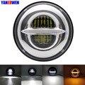 Точечный утвержденный 7 ''/7 дюймов 50 Вт налобный фонарь Hi/Lo луч Halo мотоциклетные светодиодные круглые фары с белыми DRL и янтарными поворотами