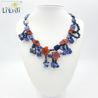 Sodalite Agate Flowers With Jadde Clasp