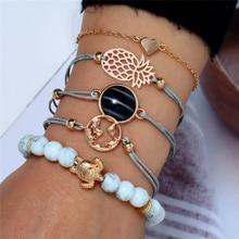 Boho Vintage Turtle Heart Map Charm Bracelets Set For Women Stone Beads Infinite Strand & Bangles Fashion Jewelry