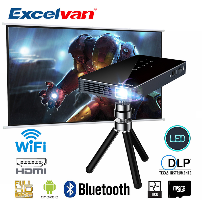 Excelvan P8I Android 7.1 DLP Proyector Built-In WIFI Bluetooth Mini Projector Quad Core Home Cinema 1080P Portable Theater