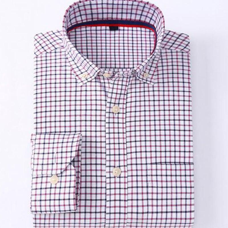Men Long Sleeve Turn-down Collar Slim Fit Shirts Camisa,Plaid Printed Smart Casu
