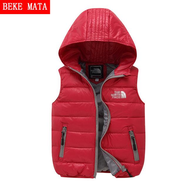 Niños Chaquetas de invierno Para Niñas 2016 Luz Caliente Sólido Chaleco Chica abrigo de Rayas Con Capucha Niños Chalecos Niños Abajo Cubre Para 4-10Y Niños