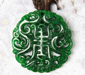 Genuine natural Burma jade dry green Lucky jadeite Pendant Full green Jade Carved Dragon Amulet Pendants Necklace