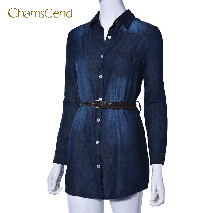 6e94b285c1 Detail Feedback Questions about Chamsgend Women Casual Turn Down Collar Long  Sleeve Denim Jeans Short Mini Shirt Dress with Belt 170905 on  Aliexpress.com ...