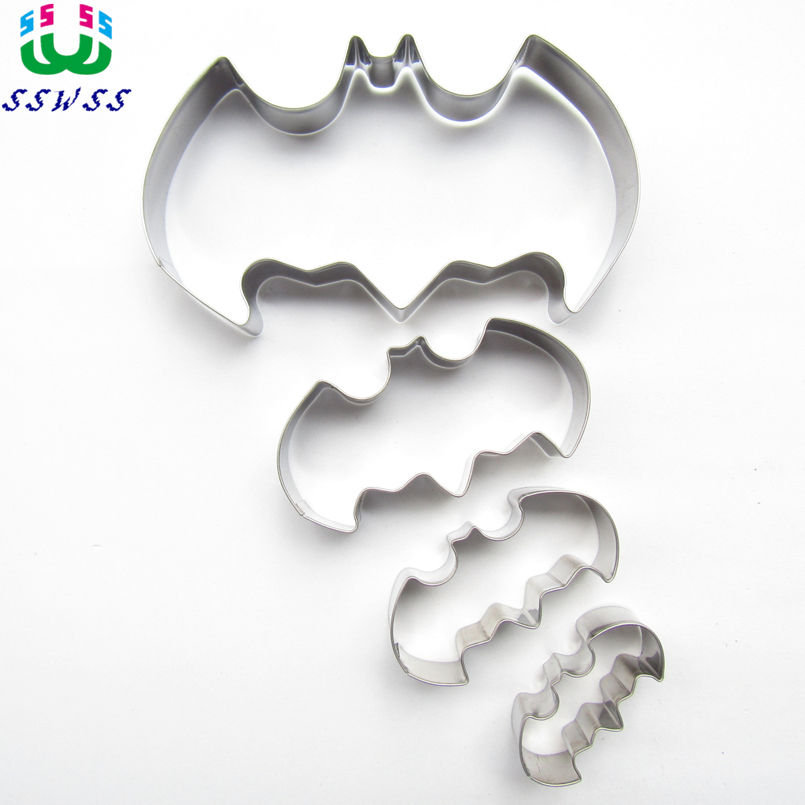 One, Two, Three, Four Bats Shape Cake Decorating Fondant Cutters Tool, Мультфильмдер стиліндегі Cake Biscuit Baking Mold, Direct сату