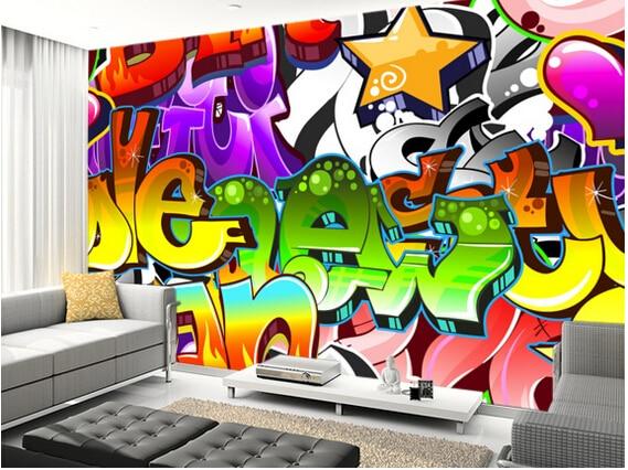 Graffiti Slaapkamer Muur : Custom d behang graffiti muur art voor woonkamer slaapkamer tv
