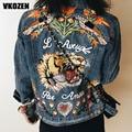 Women Tiger Butterfly Flower Bird Animal Pattern Embroidery Denim Jacket Turn Down Collar Coat Outwear YN-4338