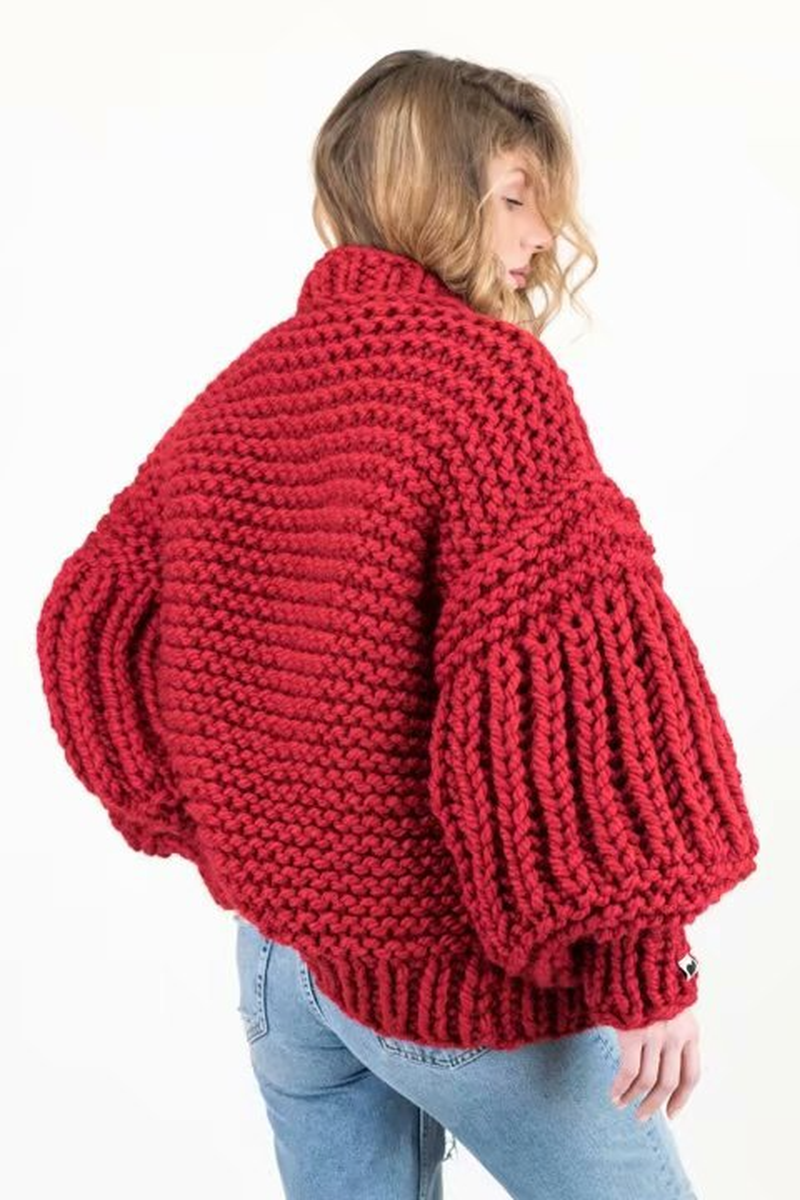 Негабаритный розовый кардиган свитер ручной работы Женский вязаный длинный свитер для фейерверка грубая Вязаная Осень Зима Повседневный свитер