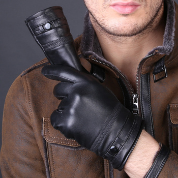 Mens High Quality Genuine Leather Gloves 2018 New Arrival  Real Sheepskin Mittens Warm Winter For Fashion Male D12-5