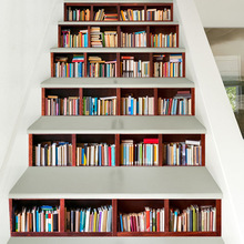 3d Bookshelves Pattern Tile Wall Stairs Stickers Pvc Removable Waterproof Wallpaper Mural Ceramic Poster For Home Stair Decor все цены