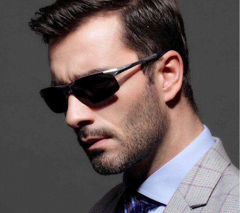 2018 aluminium magnesiumlegering ram polariserade solglasögon män - Kläder tillbehör